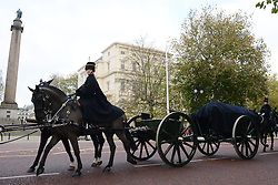 © Licensed to London News Pictures.30?11/2013. London, UK. Sacred soil from the battlefields of Flanders has been carried on a gun carriage at The Mall. The soil arrived yesterday on a Belgian frigate and was loaded on to a gun carriage this morning. The gun carriage was drawn by six colour matched black Irish Draught horses and was taken to Wellington Barracks.Photo credit : Peter Kollanyi/LNP