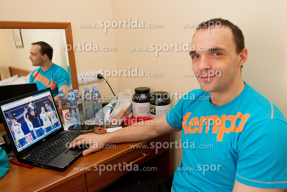 Peter Pucelj during visit in the rooms of Slovenia Men Handball team during 5th day of 10th EHF European Handball Championship Serbia 2012, on January 19, 2012 in Hotel Srbija, Vrsac, Serbia.  (Photo By Vid Ponikvar / Sportida.com)