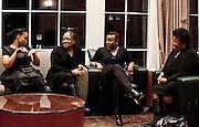 Ohio University faculty, staff and alumna talk outside the Baker University Center Ballroom during the All Black Affair at Ohio University on Friday, January 29, 2016. © Ohio University / Photo by Sonja Y. Foster