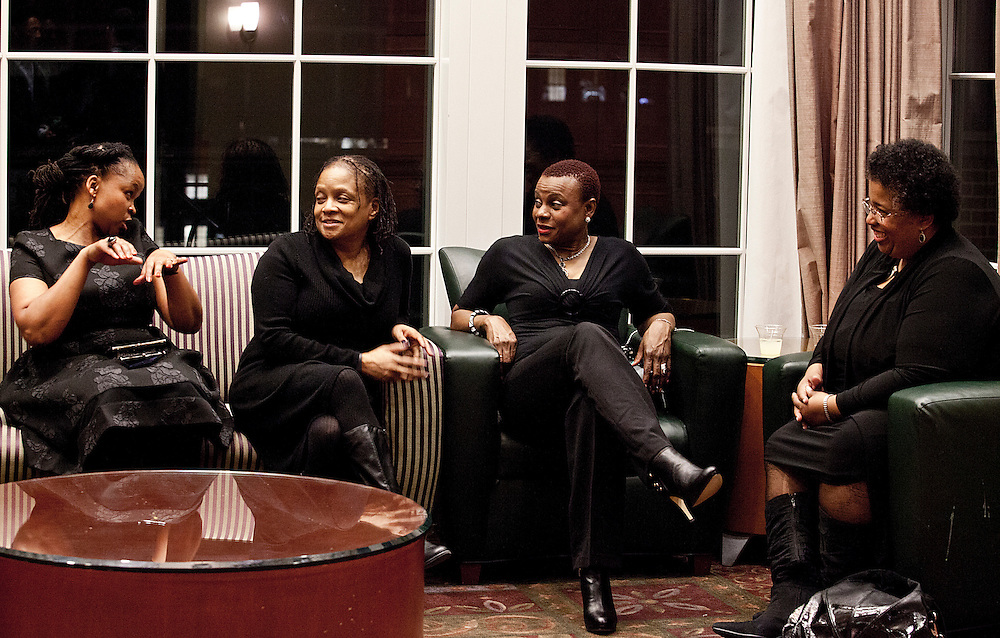 Ohio University faculty, staff and alumna talk outside the Baker University Center Ballroom during the All Black Affair at Ohio University on Friday, January 29, 2016. © Ohio University / Photo by Sonja Y. Foster