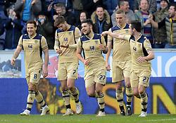 Leeds United's Alex Mowatt celebrates scoring the first goal with his team-mates - Photo mandatory by-line: Richard Martin-Roberts/JMP - Mobile: 07966 386802 - 07/03/2015 - SPORT - Football - Wigan - DW Stadium - Wigan Athletic v Leeds United - Sky Bet Championship
