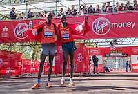 Wilson Kipsang of Kenya and Stanley Biwott both of Kenya after winning and coming second in the Elite Men's race at the end of the Virgin Money London Marathon 2014 on Sunday 13 April 2014<br /> Photo: Roger Allan/Virgin Money London Marathon<br /> media@london-marathon.co.uk