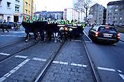 Frankfurt am Main | 18 Mar 2015<br /> <br /> Blockupy-Proteste in Frankfurt am 18.03.2015, hier: Am fr&uuml;hen Morgen rennen Demonstranten auf eine Polizeikette zu.<br /> <br /> photo &copy; peter-juelich.com