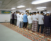Muslims pray inside KM Bukit Siguntang's prayer room. As a country with the biggest muslim population in the world, all Pelni ship are equipped with prayer rooms, where prayers is held five times a day. For christian sunday service is also held sometimes.<br /> <br /> Indonesia&rsquo;s Pelni is the last great true passenger liners company in the world. It is the only company of its size that still serves scheduled vessels transporting people across various destination. In a far-flung archipelago nation, where many of the islands have no airport and most of its area made up of water, it is one important mean of transportation&mdash;and simply one of the best way to travel. One of Pelni's furthest regular route starts from Surabaya in East Java and ends in Papuan city of Merauke, basically the eastern end of Indonesia. The round trip voyage takes one month, passing more than two dozen ports and covering a distance of more than 8,000 kilometers.