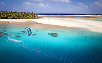 Kiteboarding for the first time in a lagoon about as remote as they come in the Marshall Islands, South Pacific