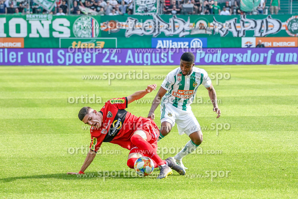 25.05.2019, Allianz Stadion, Wien, AUT, 1. FBL, SK Rapid Wien vs Cashpoint SCR Altach, Qualifikationsgruppe, 32. Spieltag, im Bild v.l. Emir Karic (SCR Altach), Kelvin Arase (Rapid Wien) // during the tipico Bundesliga qualification group 32nd round match between SK Rapid Wien and Cashpoint SCR Altach at the Allianz Stadion in Wien, Austria on 2019/05/25. EXPA Pictures © 2019, PhotoCredit: EXPA/ Lukas Huter