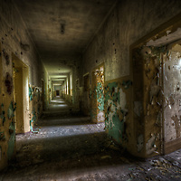 Old unused Soviet sports hospital in East Germany.<br /> One of the very long corridors