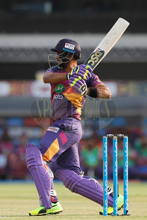 Manoj Tiwary of Rising Pune Supergiant bats during match 4 of the Vivo 2017 Indian Premier League between the Kings X1 Punjab and the rising Pune Supergiant held at the Holkar Cricket Stadium in Indore, India on the 8th April 2017<br /> <br /> Photo by Deepak Malik - IPL - Sportzpics