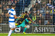 Brentford forward Ollie Watkins (11) scores a goal 0-1 during the EFL Sky Bet Championship match between Queens Park Rangers and Brentford at the Kiyan Prince Foundation Stadium, London, England on 28 October 2019.