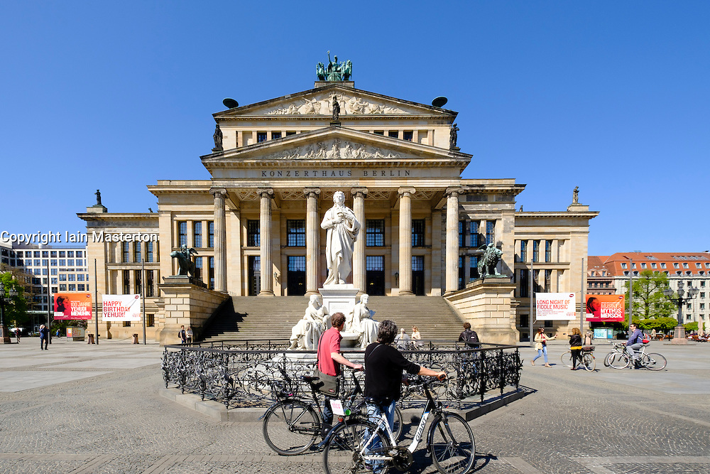 Konzerthaus and Schiller statue in Gendarmenmarkt square in Mitte Berlin Germany