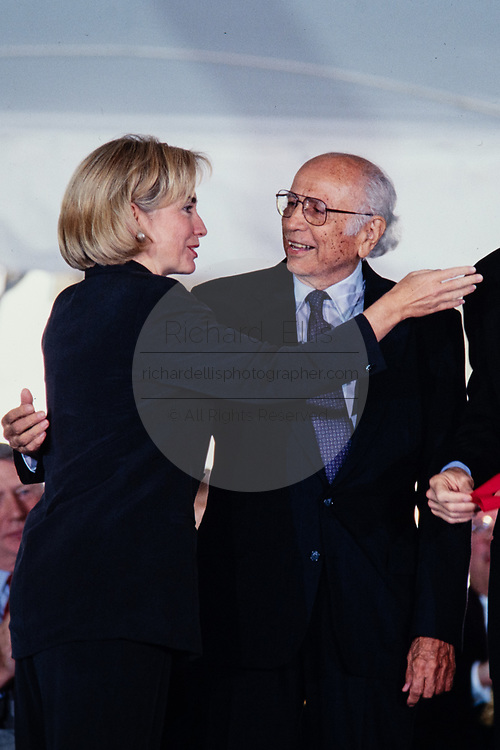 Professor and author Luis Leal thanks First Lady Hillary Clinton after being presented the National Humanities Medal during a ceremony on the South Lawn of the White House September 29, 1997 in Washington, DC.