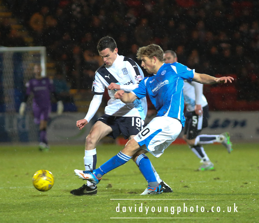 St Johnstone&rsquo;s David Wotherspoon tackles Dundee&rsquo;s Dundee&rsquo;s Paul McGinn - St Johnstone v Dundee, Ladbrokes Scottish Premiership at McDiarmid Park<br /> <br />  - &copy; David Young - www.davidyoungphoto.co.uk - email: davidyoungphoto@gmail.com