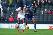 Milton Keynes Dons Dons midfielder Ousseynou Cisse (8) shields the ball under pressure from Charlton Athletic midfielder Joe Aribo(17) during the EFL Sky Bet League 1 match between Milton Keynes Dons and Charlton Athletic at stadium:mk, Milton Keynes, England on 17 February 2018. Picture by Dennis Goodwin.