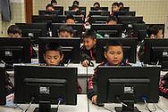 Qingyuan, Guangdong, Chine, le 11 mars 2016<br /> Classe d'informatique &agrave; l'&eacute;cole de football Evergrande. Fond&eacute;e en 2013, l'&eacute;cole compte plus de 2000 &eacute;l&egrave;ves et pr&egrave;s de 50 terrains de football.<br /> Gilles Sabri&eacute; pour L'Equipe
