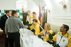 Players of South Africa and Zoran Jankovic, major of Ljubljana during draw of Davis cup Slovenia vs South Africa competition on September 12, 2013 in City hall, Ljubljana, Slovenia. (Photo by Vid Ponikvar / Sportida.com)
