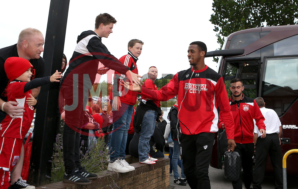 Jonathan Kodjia of Bristol City arrives at Wycombe Wanderers for the EFL Cup match - Mandatory by-line: Robbie Stephenson/JMP - 09/08/2016 - FOOTBALL - Adams Park - High Wycombe, England - Wycombe Wanderers v Bristol City - EFL League Cup