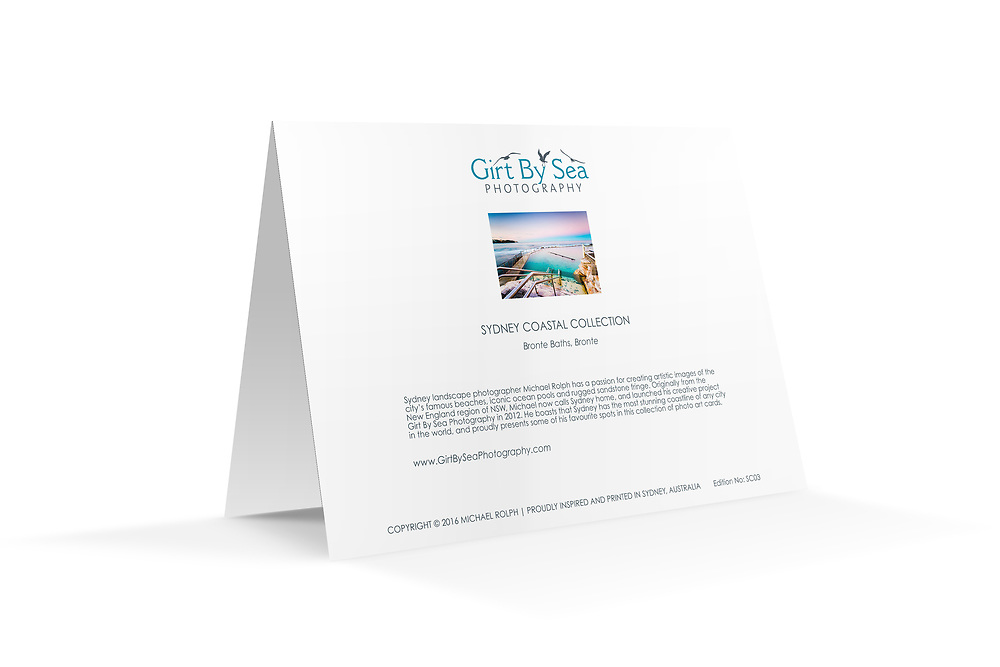 "Reverse view: Photo Art Greeting Card - Sydney Coastal Collection (Bronte Baths). Printed on 350gsm matte card, 174 x 123mm, blank inside, envelope included, packaged in sealed poly bag. Click ""Add to Cart"" to choose your own mix of 5, 10, or 20 cards from this collection."