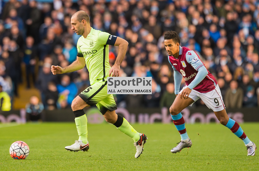 Manchester City defender Pablo Zabaleta (5) on the ball closely marked by Aston Villa midfielder Scott Sinclair (9)<br /> <br /> (c) John Baguley | SportPix.org.uk