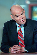 Democratic consultant James Carville discusses the ongoing Lewinsky scandal August 23, 1998 during NBC's Meet the Press in Washington, DC.