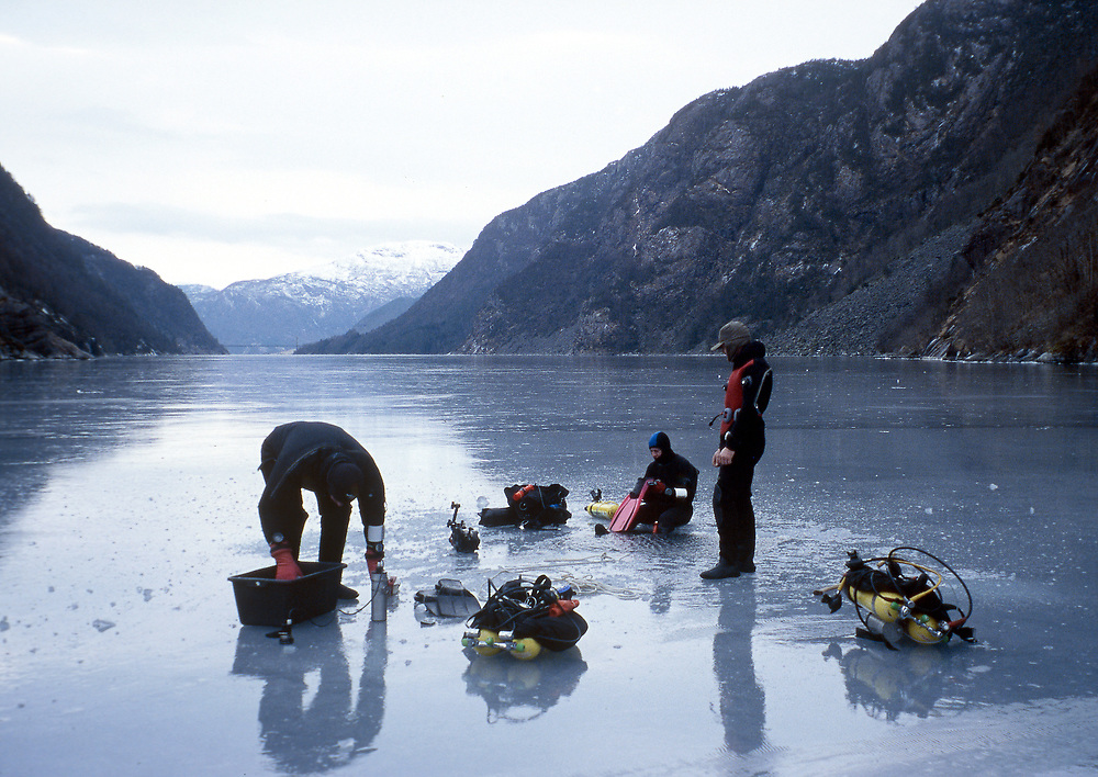Ice diving in one of Norways fjords. Location: Norway