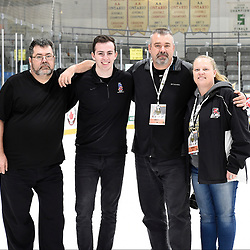 TRENTON, ON  - MAY 6,  2017: Canadian Junior Hockey League, Central Canadian Jr. &quot;A&quot; Championship. The Dudley Hewitt Cup. Championship game between Trenton Golden Hawks and the Georgetown Raiders. The 2017 Dudley Hewitt Cup OJHL Images Photographers. (Left to Right) Andy Corneau, Alex D'Addese, Tim Bates, Amy Deroche.<br /> (Photo by Tim Bates / OJHL Images)