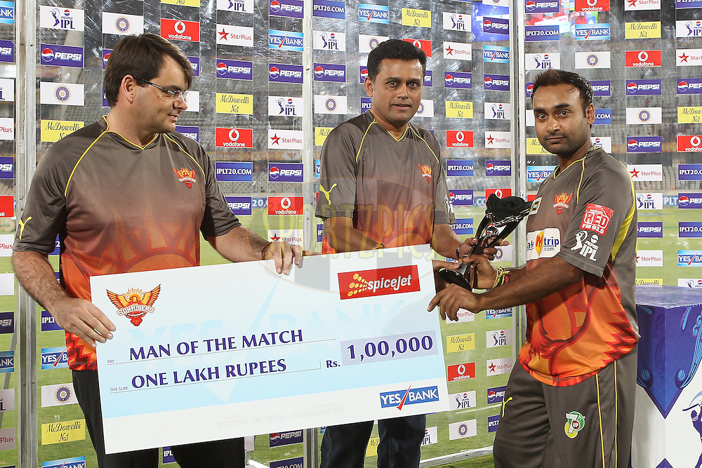 Amit Mishra is the man of the match during match 3 of of the Pepsi Indian Premier League between The Sunrisers Hyderabad and The Pune Warriors held at the Rajiv Gandhi International  Stadium, Hyderabad  on the 5th April 2013..Photo by Ron Gaunt-IPL-SPORTZPICS..Use of this image is subject to the terms and conditions as outlined by the BCCI. These terms can be found by following this link:..http://www.sportzpics.co.za/image/I0000SoRagM2cIEc