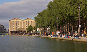 Bassin de la Villette or La Villette Basin, in the 19th arrondissement of Paris, France. The basin is a large artificial lake linking the Canal de l'Ourcq to the Canal Saint-Martin, dug in the early 19th century and filled in 1808 to provide the city of Paris with fresh drinking water. Picture by Manuel Cohen