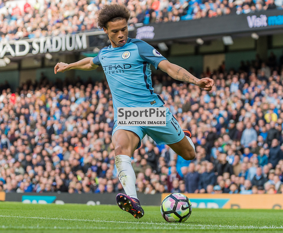 Manchester City midfielder Leroy Sane (19) on the ball in the Premier League match between Manchester City and Southampton<br /> <br /> (c) John Baguley | SportPix.org.uk