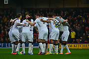 Derby Huddle during the Sky Bet Championship match between Watford and Derby County at Vicarage Road, Watford, England on 22 November 2014.