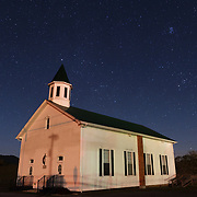 Starry night over church. Pocahontas County, West Virginia.