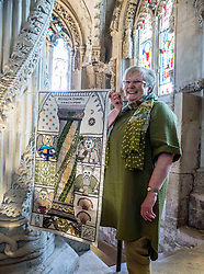A copy of the Rosslyn panel that was stolen from the Great Tapestry of Scotland has been presented to the trustees after the original stitching team recreated their original. Pictured with the replacement inside Rosslyn Chapel is Co-ordinator Dorie Wilkie.<br /> <br /> © Dave Johnston/ EEm