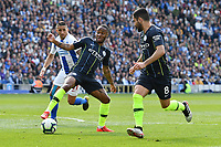 BRIGHTON, ENGLAND - MAY 12:  Raheem Sterling (7) of Manchester City and Ilkay Gundogan (8) of Manchester City during the Premier League match between Brighton & Hove Albion and Manchester City at American Express Community Stadium on May 12, 2019 in Brighton, United Kingdom. (MB Media)