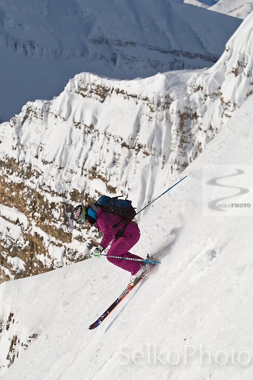 Crystal Wright skiing the out of bounds terrain from the JHMR tram on January 26, 2011.