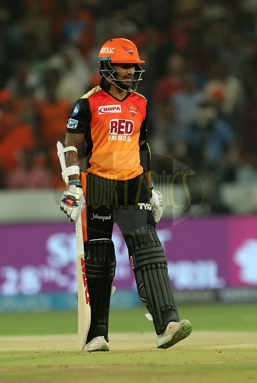 Shikhar Dhawan of Sunrisers Hyderabad walks back during match twenty five of the Vivo Indian Premier League 2018 (IPL 2018) between the Sunrisers Hyderabad and the Kings XI Punjab  held at the Rajiv Gandhi International Cricket Stadium in Hyderabad on the 26th April 2018.<br /> <br /> Photo by: Prashant Bhoot /SPORTZPICS for BCCI