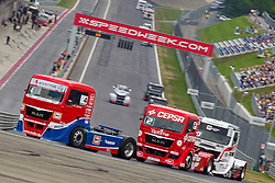 07.07.2013, Red Bull Ring, Spielberg, AUT, Truck Race Trophy, Renntag 2, im Bild Markus Oestreich, (GER, Truck Sport Lutz Bernau, #4, 1. Platz), Antonio Albacete, (ESP, Equipo Cepsa, #2, 2. Platz), Norbert Kiss, (HUN, Oxxo Energy Truck Race Team, #10, 3. Platz) // during the Truck Race Trophy 2013 at the Red Bull Ring in Spielberg, Austria, 2013/07/07, EXPA Pictures © 2013, PhotoCredit: EXPA/ M.Kuhnke