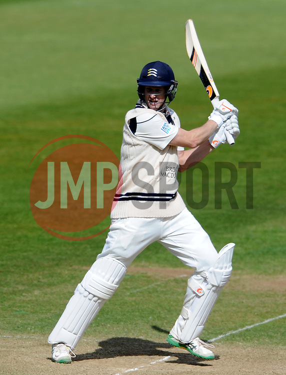 Middlesex's Adam Voges cuts the ball. - Photo mandatory by-line: Harry Trump/JMP - Mobile: 07966 386802 - 29/04/15 - SPORT - CRICKET - LVCC Division One - County Championship - Somerset v Middlesex - Day 4 - The County Ground, Taunton, England.