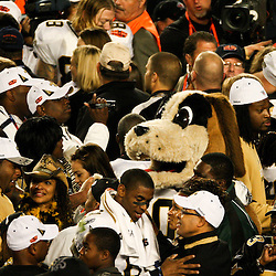 2010 February 07: New Orleans Saints mascot Gumbo celebrates with players following a 31-17 win by the New Orleans Saints over the Indianapolis Colts in Super Bowl XLIV at Sun Life Stadium in Miami, Florida.