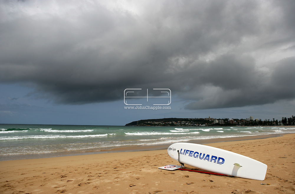 5th February 2007. Sydney, NSW. A lifeguard rescue surf board, at Manly beach, Sydney. PHOTO © JOHN CHAPPLE. .tel 310 570 9100.john@chapple.biz.www.chapple.biz.