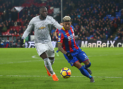 March 5, 2018 - London, United Kingdom - Crystal Palace's Patrick van Aanholt under pressure from Manchester United's Romelu Lukaku.during the Premiership League  match between Crystal Palace and Manchester United at Selhurst Park Stadium in London, England on 05 March 2018. (Credit Image: © Kieran Galvin/NurPhoto via ZUMA Press)