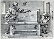 Using a frame in order to draw a lute in true persective. After 1535 print by Albrecht Durer.