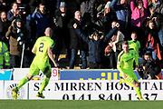 GOAL Hibernian forward Oli Shaw (32) scores to make it 1-1 and celebrates during the Ladbrokes Scottish Premiership match between St Mirren and Hibernian at the Paisley 2021 Stadium, St Mirren, Scotland on 27 January 2019.
