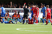 Accrington Stanley defender Zaine Francis-Angol (14) red card, sent off during the EFL Sky Bet League 1 match between AFC Wimbledon and Accrington Stanley at the Cherry Red Records Stadium, Kingston, England on 17 August 2019.