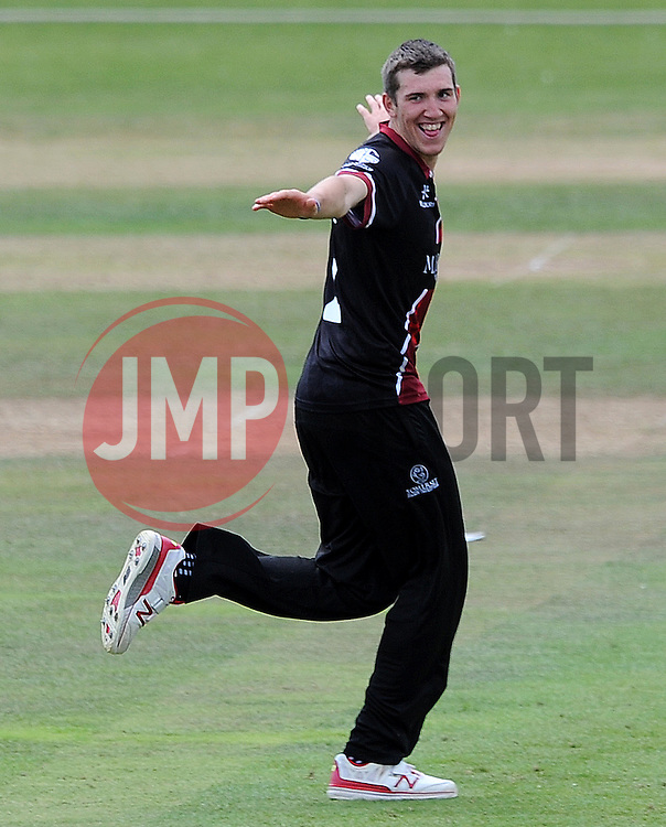 Somerset's Craig Overton celebrates the wicket of Worcestershire's Brett D'Oliviera - Photo mandatory by-line: Harry Trump/JMP - Mobile: 07966 386802 - 31/07/15 - SPORT - CRICKET - Somerset v Worcestershire- Royal London One Day Cup - The County Ground, Taunton, England.