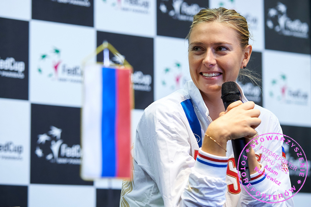 Maria Sharapova from Russia while her press conference during Second Day of the Fed Cup / World Group 1st round tennis match between Poland and Russia at Tauron Krakow Arena on February 8, 2015 in Cracow, Poland.<br /> <br /> Poland, Cracow, February 8, 2015<br /> <br /> Picture also available in RAW (NEF) or TIFF format on special request.<br /> <br /> For editorial use only. Any commercial or promotional use requires permission.<br /> <br /> Adam Nurkiewicz declares that he has no rights to the image of people at the photographs of his authorship.<br /> <br /> Mandatory credit:<br /> Photo by &copy; Adam Nurkiewicz / Mediasport