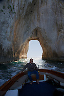 Boating through the Tunnel of Love in Capri Italy