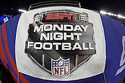 A Monday night football banner hangs from the sideline wall during the New York Giants NFL week 7 football game against the Minnesota Vikings on Monday, Oct. 21, 2013 in East Rutherford, N.J.. The Giants won the game 23-7. ©Paul Anthony Spinelli