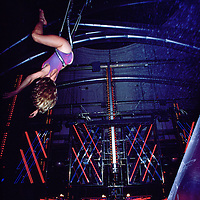 Aerialist performing at Studio 54.  New York, NY