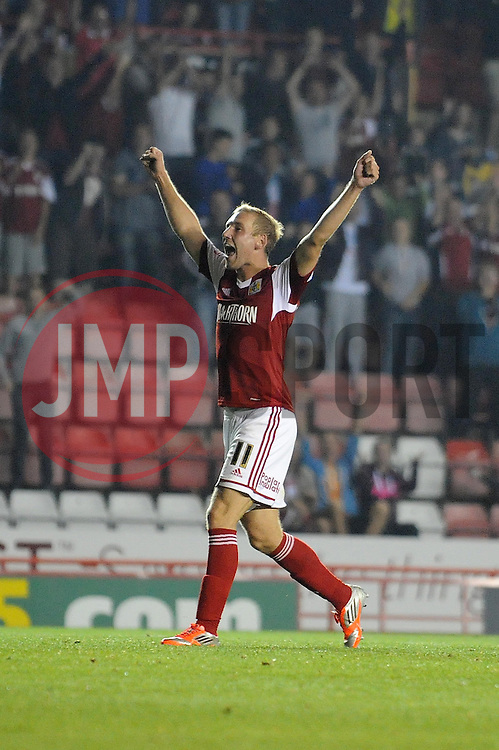 Bristol City's Scott Wagstaff celebrates his goal.  - Photo mandatory by-line: Dougie Allward/JMP - Tel: Mobile: 07966 386802 27/08/2013 - SPORT - FOOTBALL - Ashton Gate - Bristol - Bristol City V Crystal Palace -  Capital One Cup - Round 2