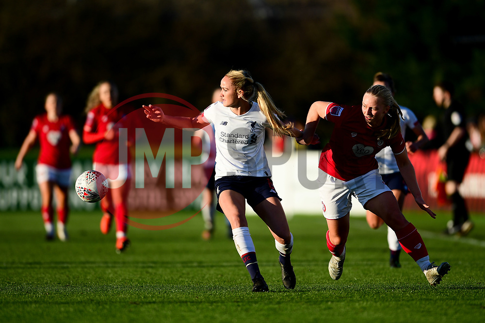 Elise Hughes of Bristol City challenges Sophie Bradley-Auckland of Liverpool Women - Mandatory by-line: Ryan Hiscott/JMP - 19/01/2020 - FOOTBALL - Stoke Gifford Stadium - Bristol, England - Bristol City Women v Liverpool Women - Barclays FA Women's Super League