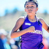 Miyamura Patriot Kaleia Vicenti runs to finish in first place during the girls Varsity race at the Zuni Invitational cross country meet in Zuni Saturday.